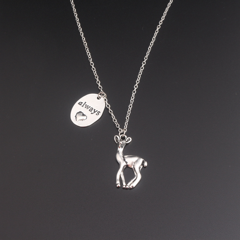 SG Fashion HP Newest Design Vintage Deer Necklace Engarved Always Heart Necklaces Sneep and Lily Patronus Collier For Women