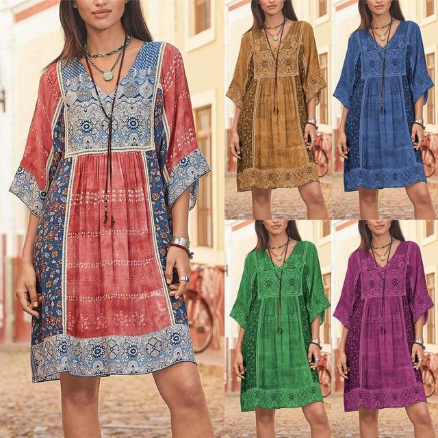 dress women Sexy Mini Dress Fashion Bohemian Party Print  V Neck Plus Size Loose Casual Mini Dress Y715 1