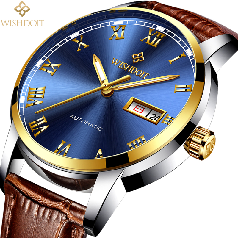 WISHDOIT mens watches top brand luxury Fashion Casual Business Men's Automatic Mechanical Watch Sports steel military male clock luxury mens automatic mechanical watch men fashion casual business watches male stainless steel clock wristwatches reloj hombre