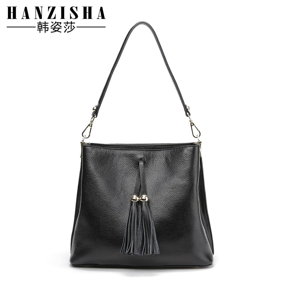 HANZISHA Genuine Leather Shoulder Bags European and American Style Women Solid Tassel Crossbody Bags