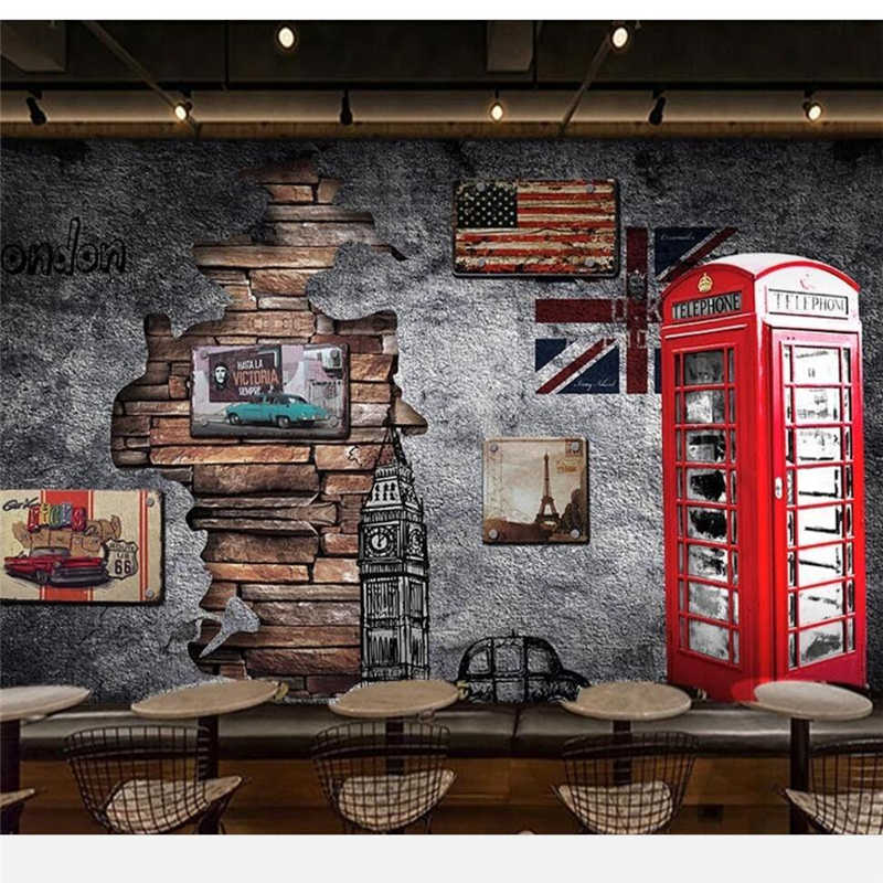 3415aa5db17 ... beibehang Custom wallpaper 3d mural Europe and the United States retro nostalgia  London telephone booth coffee