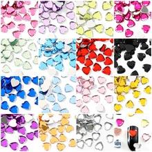 3 размера, 100 шт, акриловые стразы в форме сердца без горячей фиксации, цветные кристаллы, клей на камни для свадебного платья, сделай сам, ногти B1170
