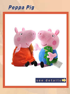 Stuffed Dolls Keychain Plush-Toys Pink Pig George Party Friend Family Gift Kids 19cm