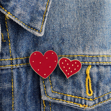 1pc Cute Carton Red Brooch Big Small Heart Design Enamel Pins Badges Set Brooches Bag Clothes Lapel Pin Jewelry Gift