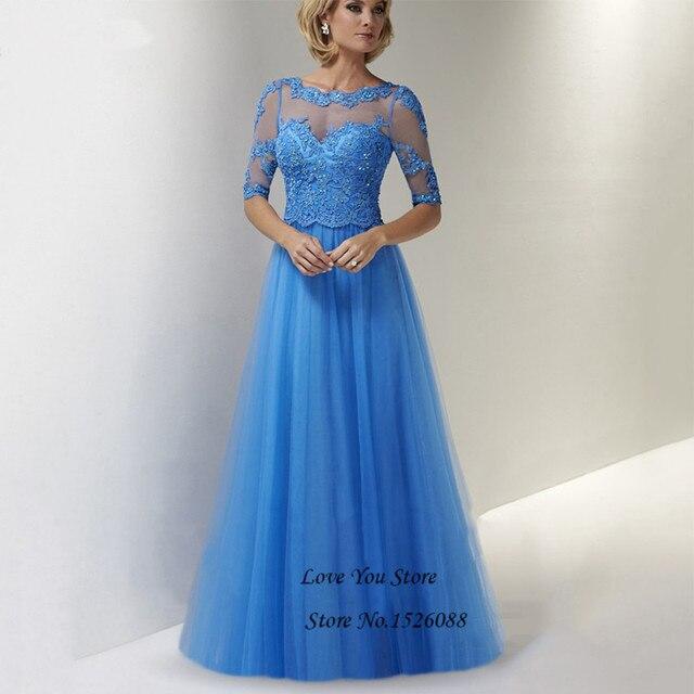 Vestido Mae Da Noiva Biru Ibu Dari Gaun Pengantin Renda Celana Jas