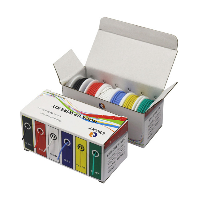 30 meters/box 18 AWG 5 meters (16.4ft) Each colors Flexible Silicone Rubber Wire Tinned Copper line Kit mix 6 Colors DIY
