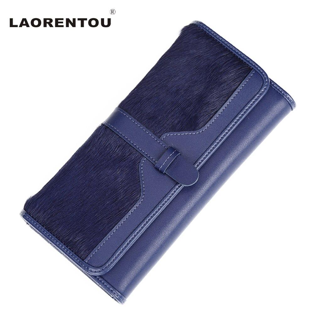 ФОТО LAORENTOU Brand Exclusive Cowhide Leather Wallet For Women Solid Fashion Fur Long Lady Wallet Purse Clutch Lady Wallets
