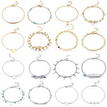 16 Pcs Adjustable Alloy Pendant Women Anklet Set Beach Gold Silver Color Sequins Beads Stone Anklet Bracelet A011 retro style turquoise beads cut out carved alloy anklet for women