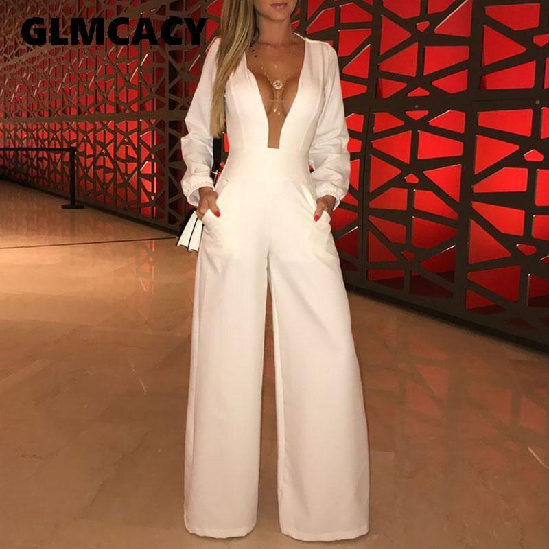 Women Elegant Plunge Neck Solid Maxi Romper Plunge Mesh Insert Elegant Wide Leg Party Long   Jumpsuit   Overalls