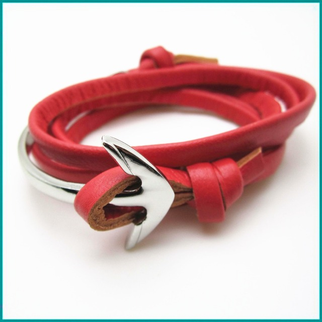Mixed Color Miansai Half Cuff Anchor Bracelets With Burgundy Leather Red Bracelet Without Logo On