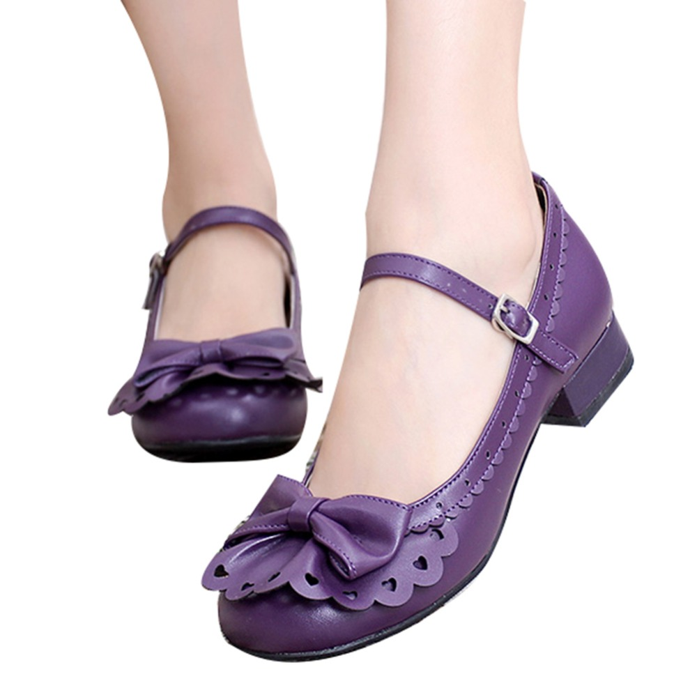 Ladies Place Princess Vintage Style Flounce Trim Bowtie Mary Jane Low Heel Shoes Sweet Lolita Cosplay