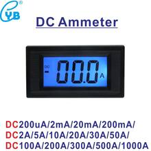 LCD luz de fundo azul Digital Medidor de Corrente DC DC 200mA 2A 5A 10A 20A 50A 100A 200A 300A 500A 1000A Amp medidor de painel Amperímetro Micro