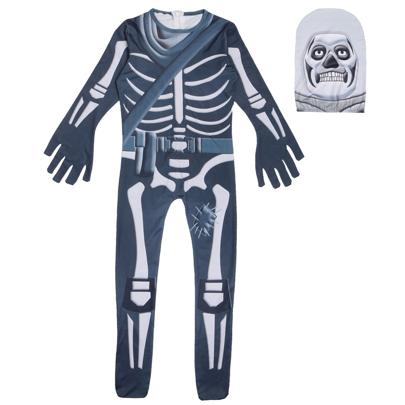 Ghost Skull Skeleton Cosplay Costumes Boys Jumpsuit Party Halloween Costume kids Bodysuit Fancy Dress Children Halloween Props