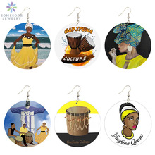 SOMESOOR Printed Garifuna Culture Wooden Drop Earrings Black Headwrap Woman Afro Art Paint African Wood Jewelry For Girls Ladies