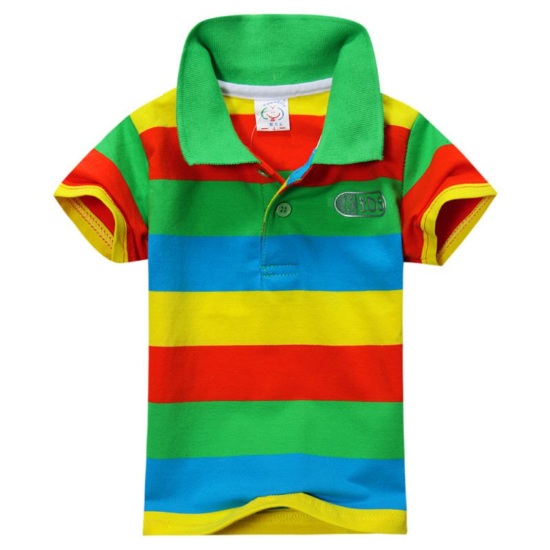 aaf62eb46 Summer Boys Polo Shirt For Kids Baby Little Toddler Big Boy Clothes Short  Sleeve Cotton Striped Children's Clothing 1 7Y-in Shirts from Mother & Kids  on ...