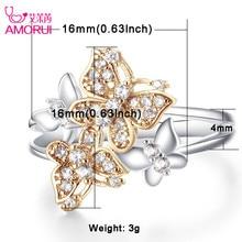 AMORUI mariposa linda de oro anillo de plata AAA CZ Zircon boda anillos para las mujeres regalos del cumpleaños del partido Dropshipping