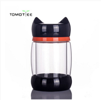 Hot selling 280ml quality honey glass cup cat lovers glass cup kt water cup male women's lid cat mug