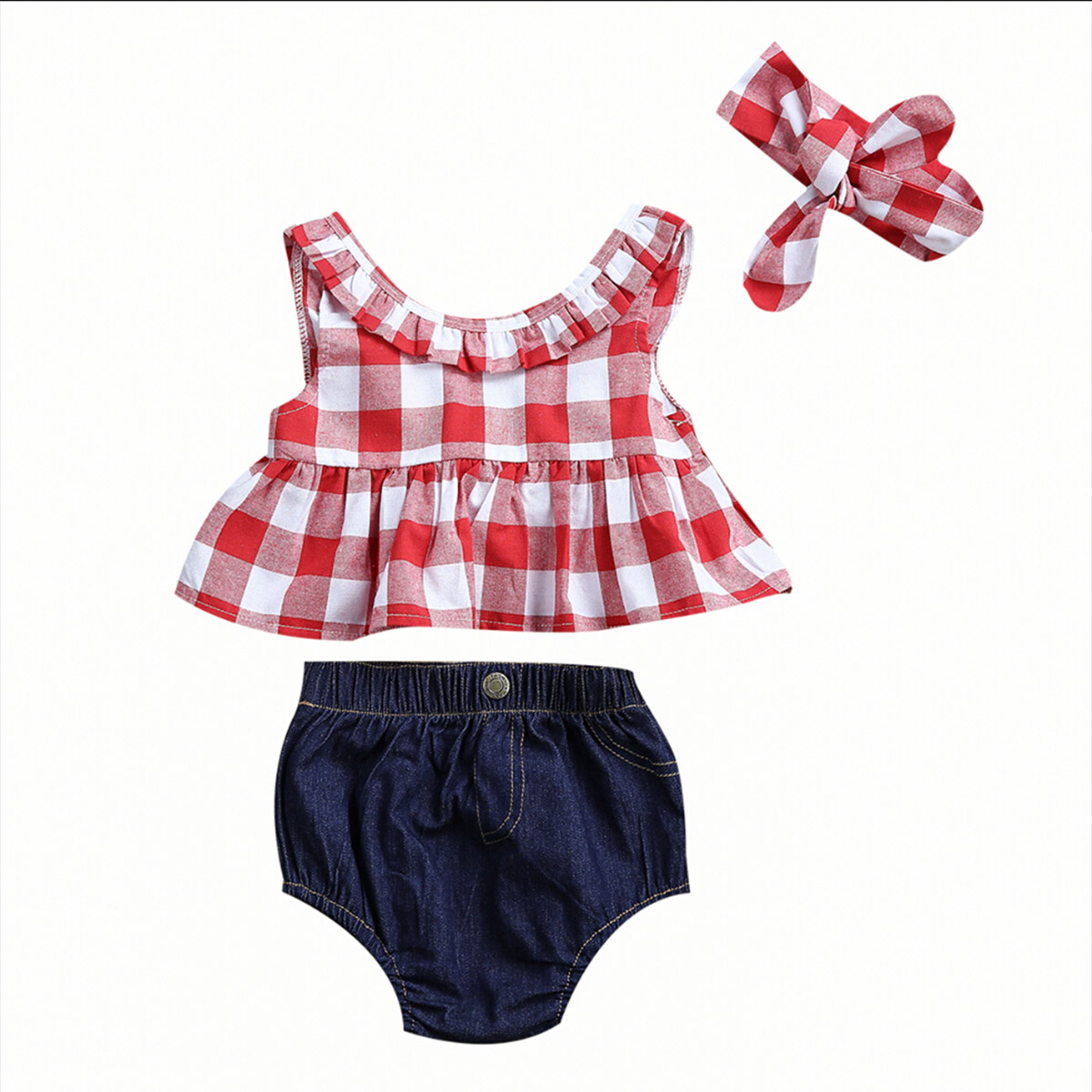 3PCS Toddler Kids Clothes 2017 Summer Red Plaid Skirted T-shirt Tops+Denim Shorts Bloomers Headband Outfit Children Clothing Set 2017 new fashion kids clothes off shoulder camo crop tops hole jean denim pant 2pcs outfit summer suit children clothing set