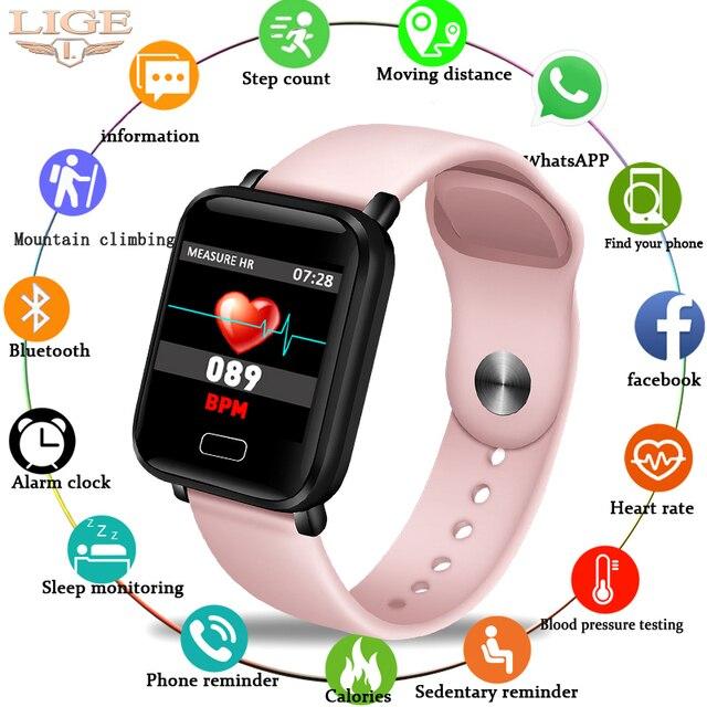 Lige 여성 스마트 팔찌 스포츠 피트니스 트래커 안드로이드 ios에 대한 방수 스마트 팔찌 심장 박동 모니터 보수계 시계