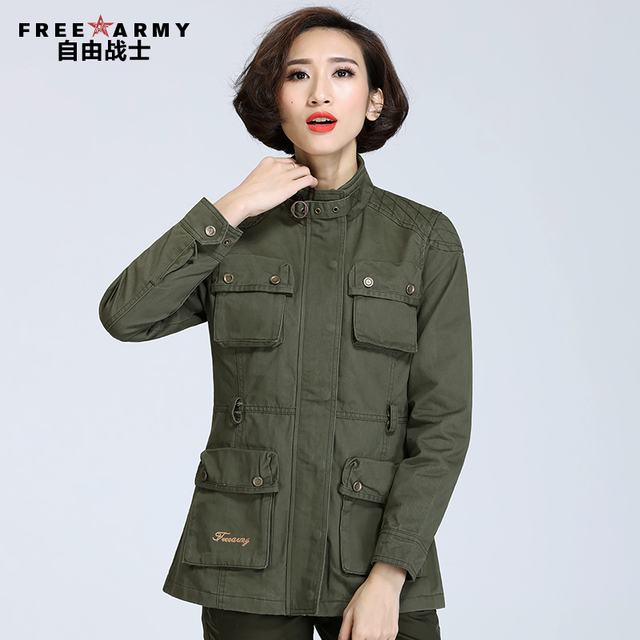Free army Brand outerwear female Trench Autumn medium-long women's stand collar slim multi pocket trench military GS-827