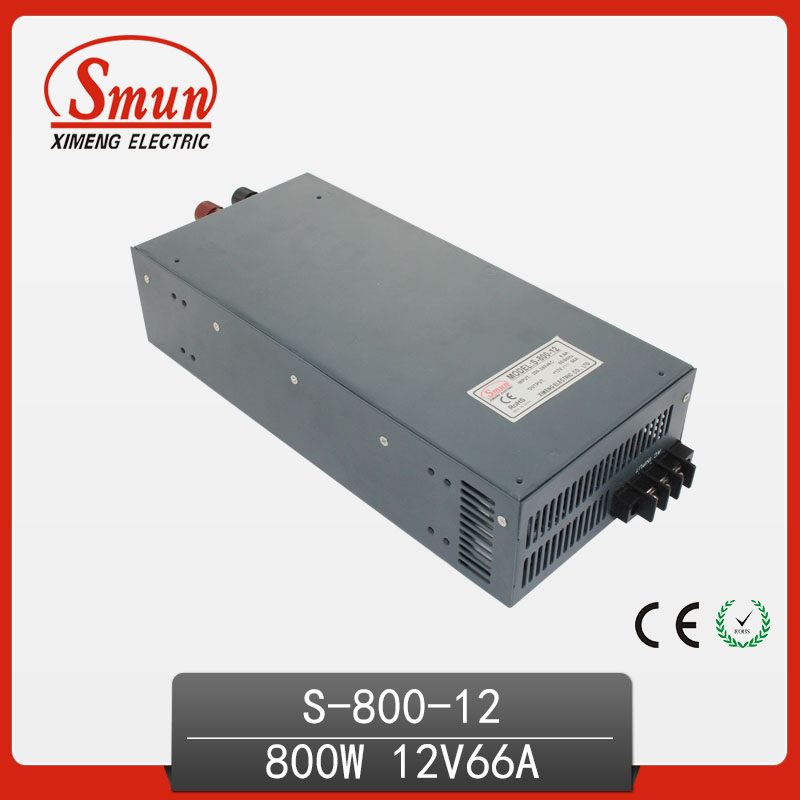 800W 12V 66A High Efficiency Single Output AC-DC Switch Power Supply For LED Industrial Control System S-800-12