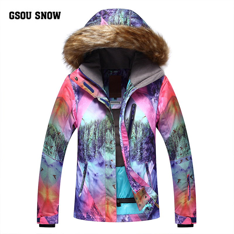 GSOU SNOW 2018 marque veste de Ski femmes veste de Snowboard fuir à capuche hiver imperméable à l'eau pas cher combinaison de Ski en plein air dames vêtements de Sport