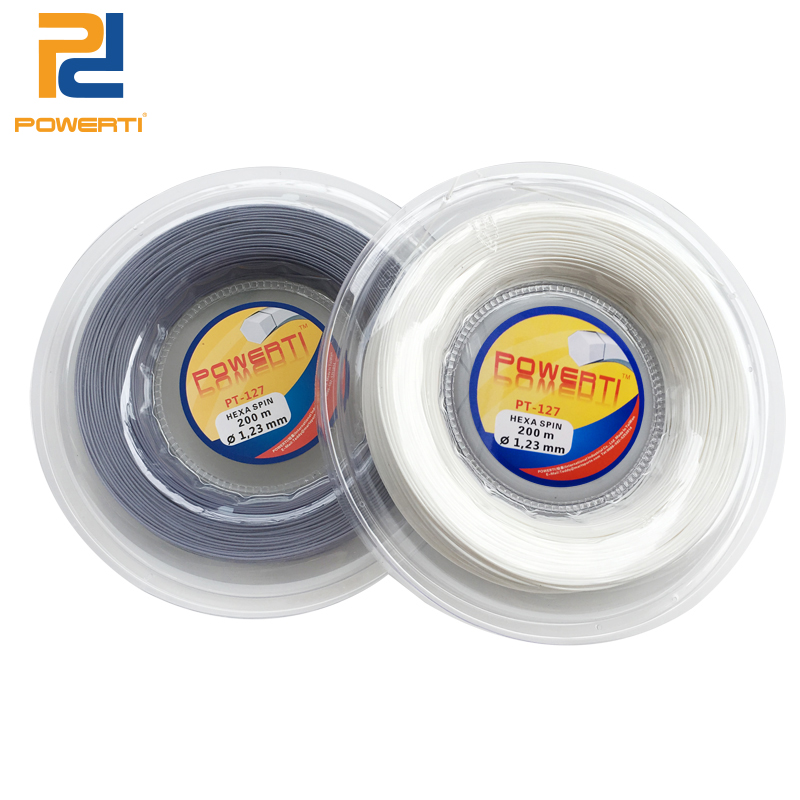 Powerti 1.23mm Hexagonal Tennis String Top Spin Polyester Training Tennis Racket String 200m Reel Power Control Black