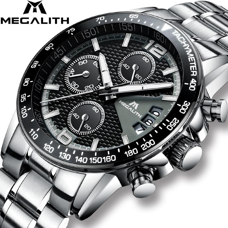 MEGALITH Men Watches Business Quartz 30M Waterproof Stainless Steel Strap Watches For Men's Auto Date Wristwatches Clock Relojes|Quartz Watches| |  - title=