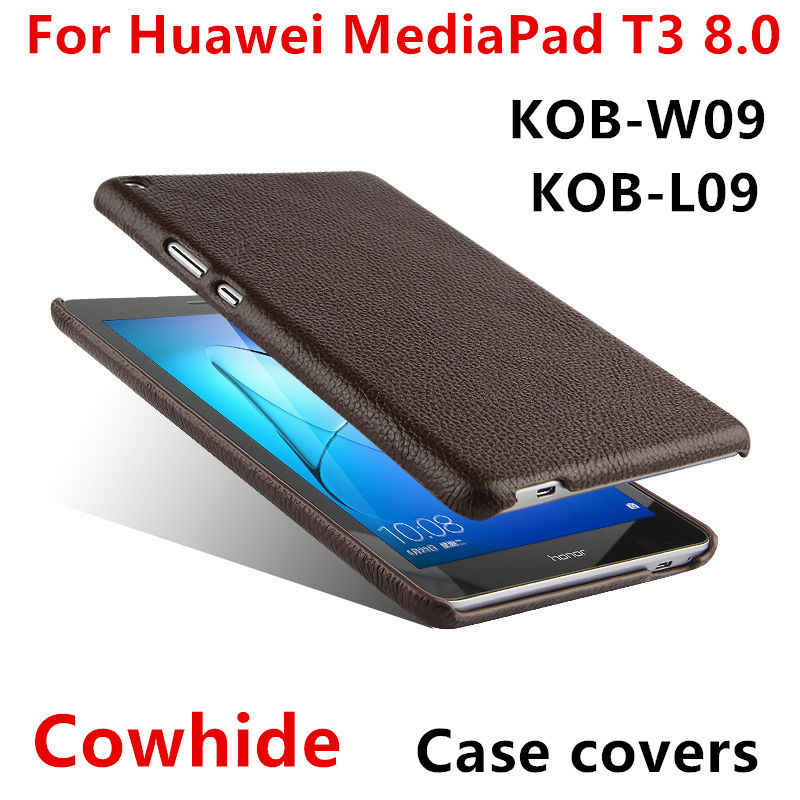 "Case Cowhide For Huawei MediaPad T3 8.0"" Protective Shell Smart Cover Genuine Leather Tablet PC For huawei t38 kob-w09 l09 Cases"
