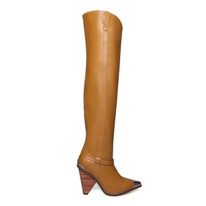 Image 5 - Morazoraプラスサイズ 34 45 本革の女性のブーツファッションbota ş ハイヒール膝のブーツ女性の秋冬のブーツ