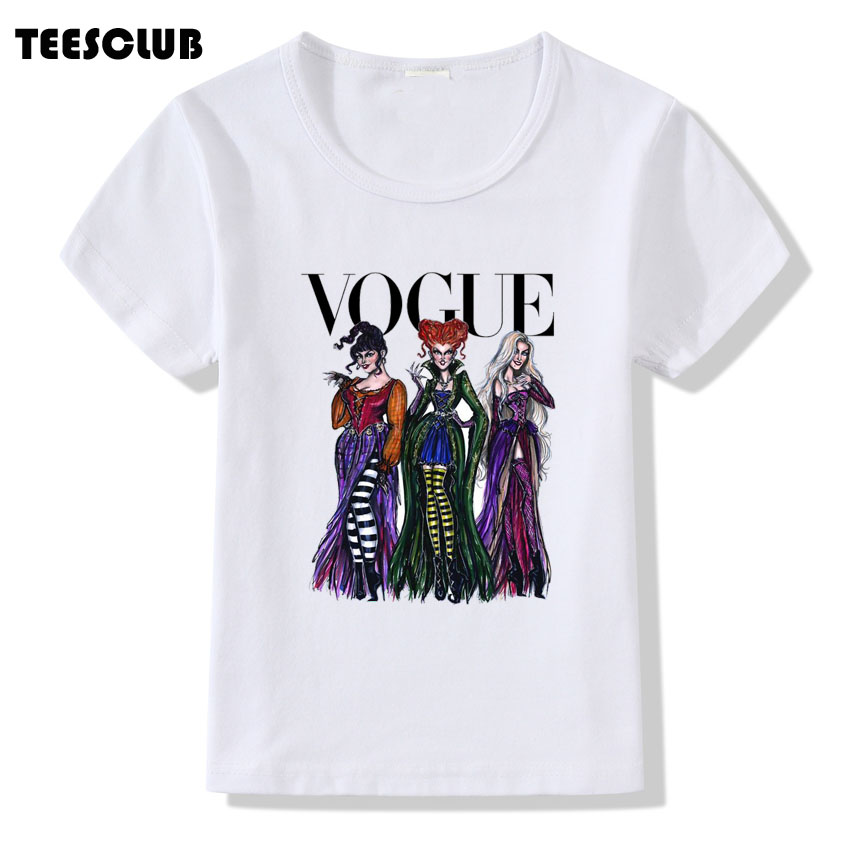 Girl Summer T shirt Vogue Hocus Pocus Print T-shirt Halloween Design Short Sleeve Tshirt For Children Casual O-neck Tops Tees faux twinset button design v neck long sleeve fitted stylish polyester t shirt for men