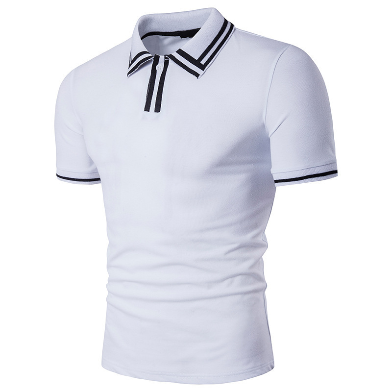 Мужская летняя новая футболка с короткими рукавами с отворотом, мужская Тонкая футболка-поло с принтом, модная новая футболка-поло