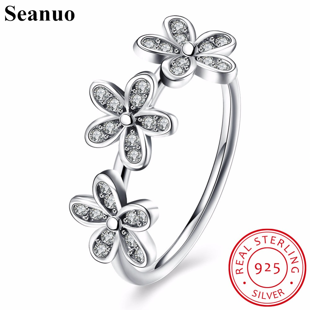 Seanuo 3 Small Flower Women 100% Sterling Silver Wedding Ring Jewelry Elegant Lady Cocktail Finger Rings Grilfriend Rings Anillo