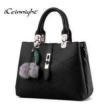 iCeinnight European style Luxury handbags women bags designer Quality Pu leather crossbody bag solid black bolsa