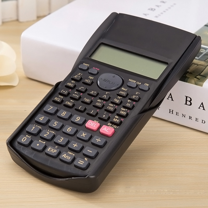 Scientific Calculator Multifunctional 2 Line Student Function Calculator LCD Display Counter Calculating Machine without Battery