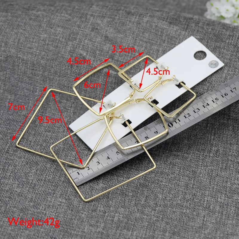 Fashion 3Pairs Lot Punk Hollow Square Stud Earrings Sets For Women Gold Color Personality Geometry Alloy 3 Size Earrings Sets in Stud Earrings from Jewelry Accessories