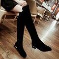 Большой Размер 34-42 короткие плюшевые Черный Весна Осень Обувь Женщины низкий Толстый Каблук Колено Высокие Сапоги Молния Мода Леди Езда сапоги