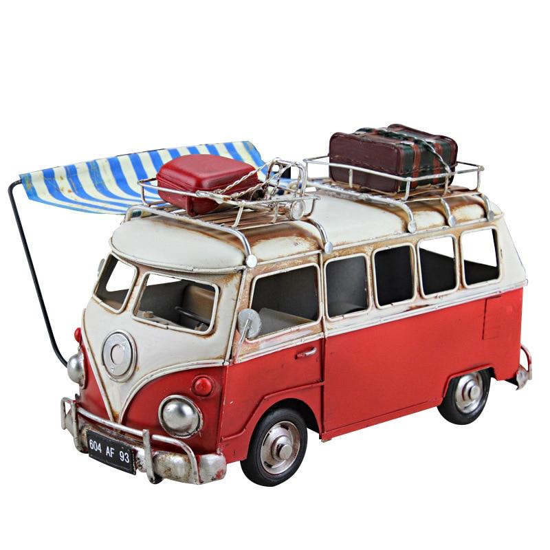 Vintage Caravan Luxury for VW Bus Onibus Model Toy Retro Handmade Colour Metal Car Model for Kid Girl Birthday Gift Home Decor the vintage caravan