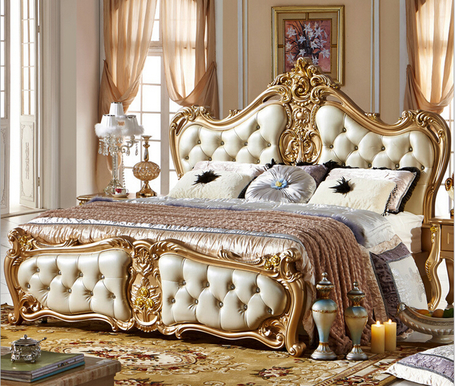 Golden Antique Bedroom Furniture Comfortable Bed