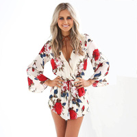 2017 Summer Woman Jumpsuit V Neck Flower Printing Short Pants Woman Elegant Chiffon Long Sleeve Sexy