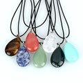 natural teardrop pendant necklace for women jewelry gift malachite lapis sea opal rose quartz stone drop necklaces collar gifts