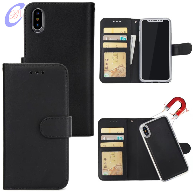 CBL 2 in 1 Magnetic Detachable Leather Wallet Case For iPhone X 8 7 6 5G Plus Phone Case Magnet Removable Retro Ultra Slim Cover