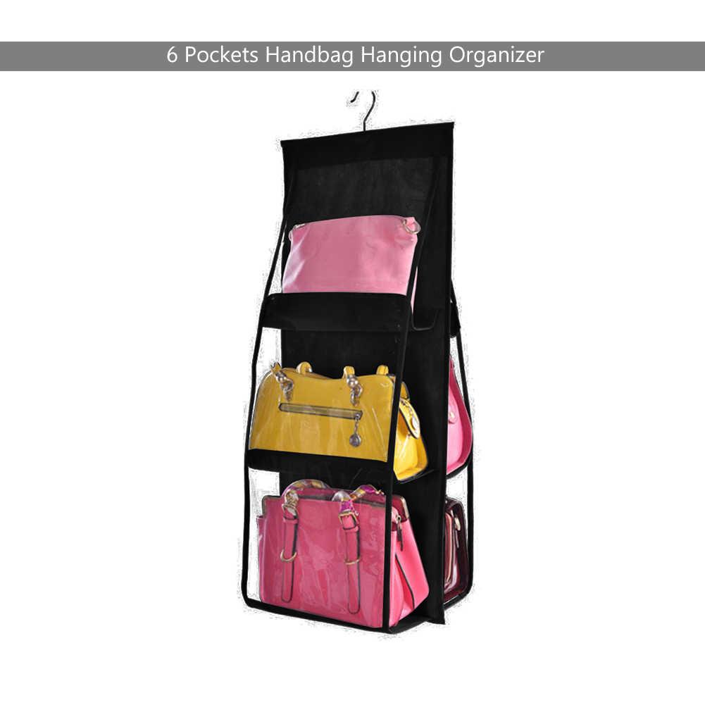 Dobrável Mochila bolsa Sacos De Armazenamento Ser Pendurado Organizador Saco De Armazenamento De Calçados de Alta Material de Casa 6 Bolsos Closet Cabides de Rack