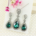 New fashion jewelry plating Jinshui Design Red Crystal Pendant Necklace Earrings gift boutique wholesale women Ms.