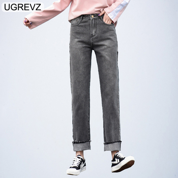 1ed6121aef UGREVZ 2019 nueva moda Denim clásico ancho de la pierna pantalones vaqueros  de las mujeres de la longitud pantalones Plus tamaño señoras novio mujer ...