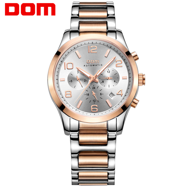 DOM Brand mens watches top luxury waterproof mechanical man Business man reloj hombre marca de lujo Men watch M-812 mens watches top brand luxury 2017 aviator white automatic mechanical date day leather wrist watch business reloj hombre