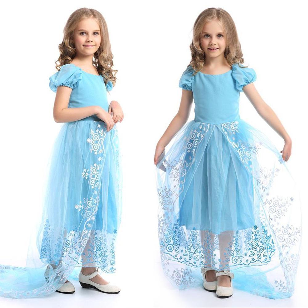 4-9 años Vestido de los niños para las niñas Boda de tul de encaje Vestido largo de la muchacha Princesa Fiesta Pageant Vestido formal para niños adolescentes