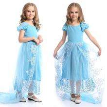 2016 noble clothes princess long trailing dress girls summer children dresses for kids wedding stage robe fille enfant стоимость