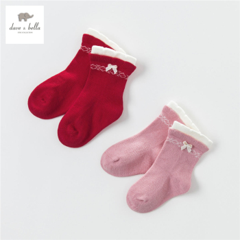 DB4269 dave bella autumn baby girls preppy style socks girls socks red grey bow socks image