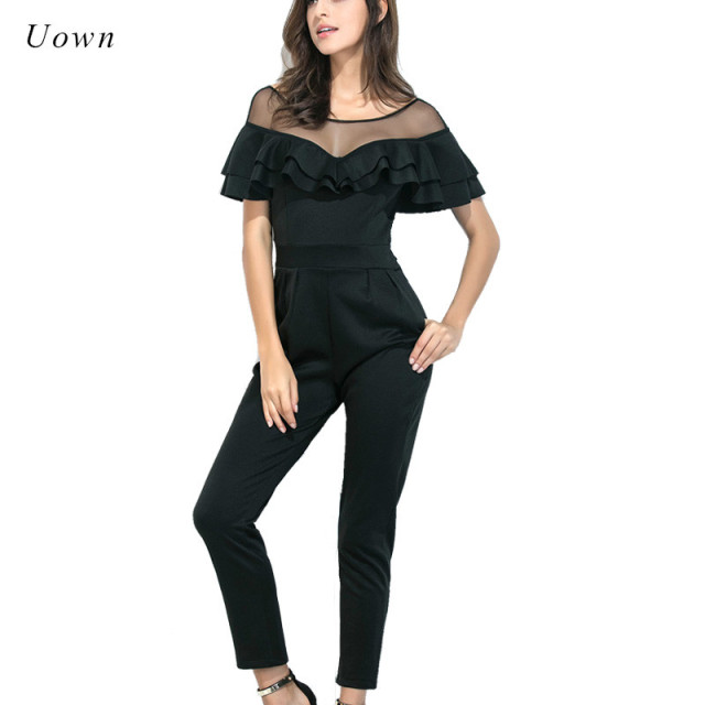 a8ca84f8cb Elegant Jumpsuits Summer Fashion Party Ruffle Mesh Patchwork Pockets Short  Sleeve Work Ladies Long Pants Rompers Womens Jumpsuit